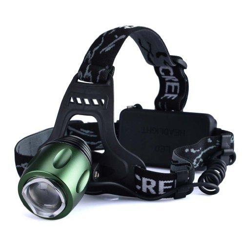 Canwelum wiederaufladbare LED-Stirnlampe, helle CREE T6LED-Stirnlampe fürs Joggen, Zoom Camping-LED-Stirnlampe (Ein komplettes Set mit 18650Li-Ion-Akkus und Ladegerät)–CE-zertifiziert