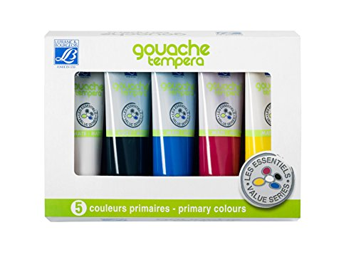 Lefranc Bourgeois Set de 5 Gouaches 120 ml Jaune/Rouge/Bleu/Blanc/No