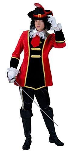 Karneval Klamotten Musketier-Kostüm Herren rot-schwarz-gold Karneval Fasching Herrenkostüm Größe 56/58