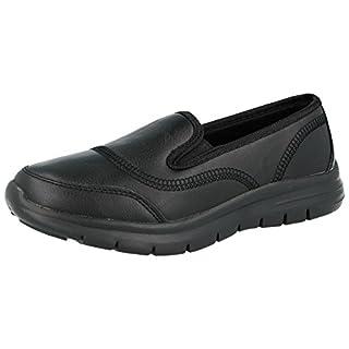 Airtech Ladies Reef Faux Leather Black PU Slip On Go Shoes Casual Plimsoll Office Work School Pumps Size 4-8 (UK 5/ EU 38, Black PU)