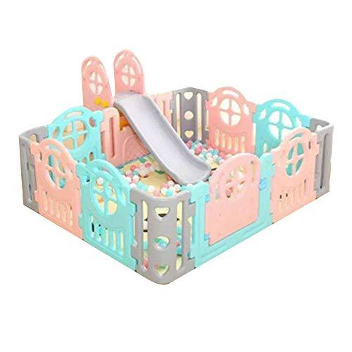 Parque Bebe Parque Infantil, Cerca De Juegos Para Niños En Casa Zona De Juegos Interior Un Parque Infantil Con Un Tobogán / Columpio Con Un Columpio, Adecuado Para Juegos / Jugadores,A,150*180CM
