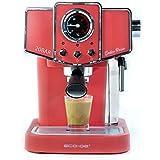 Ecode - Macchina da caffè Espresso Delice Rosso, 20 Bar di Pressione, vaporizzatore orientabile, Serbatoio da 1,5 Litri, Mono