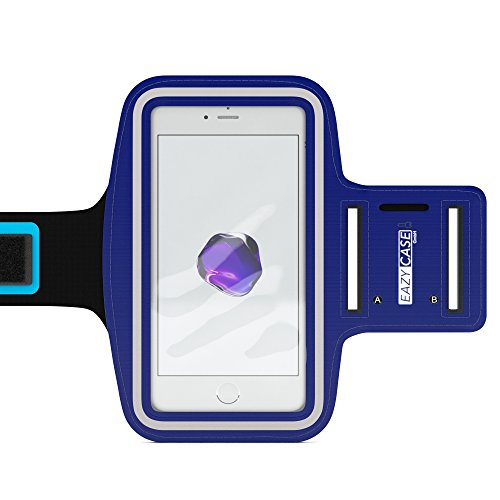 EAZY CASE Sport Armband für Smartphones bis 5,5 Zoll, schweißfest I Sportarmband Unisex, Sporthülle, Handyhülle, Armtasche mit Kopfhöreröffnung & Schlüsselfach, Blau