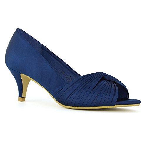 ESSEX GLAM Damen Braut Kätzchen Ferse Königsblau Satin Peep Toe Schuh EU 39 (Strass Und Rüschen Königsblau)