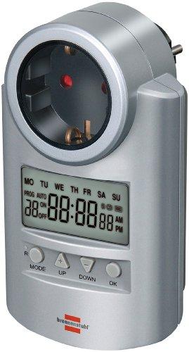 Brennenstuhl Primera-Line Zeitschaltuhr DT, digitale Timer-Steckdose (Wochen-Zeitschaltuhr mit Countdown-Funktion & Kindersicherung) Farbe: silber
