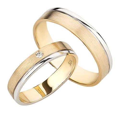 Ardeo Aurum Trauringe aus 375 Gold bicolor Gelbgold Weißgold mit 0,02 ct Diamant Brillant hochglanzpoliert-matt Eheringe Paarpreis