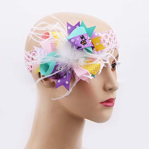 Yinew Halloween Bogen Feder Haarnadel Haarband Dual-use-Haar Zubehör für Kinder Neugeborenen Kleinkind, Rosa