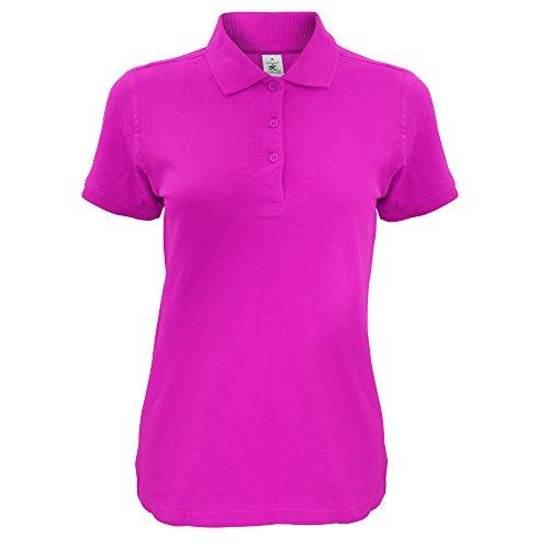 B&C Damen Safran Kurzarm Polo-Shirt Fuchsia