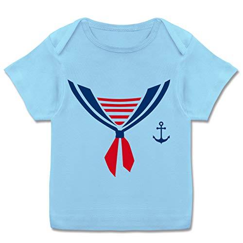 Karneval und Fasching Baby - Seefahrer Kostüm Halstuch - 56-62 (2-3 Monate) - Babyblau - E110B - Kurzarm Baby-Shirt für Jungen und Mädchen in verschiedenen ()