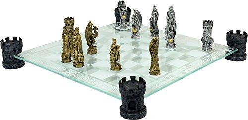 Schachspiel Schach Ritterschach Ritter Mittelalter Figuren Glasbrett