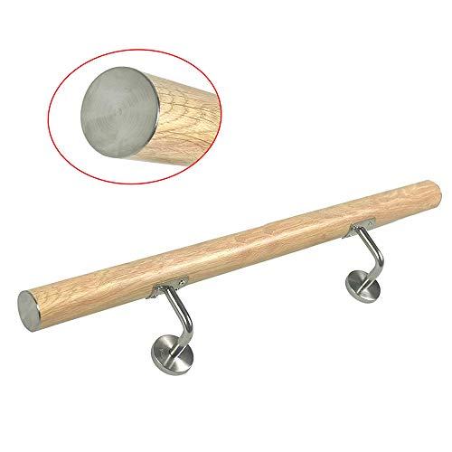AUFUN Handlauf Geländer Edelstahl Treppengeländer mit Metalldübeln Wandhandlauf Holzmaserung Farbe Wandhalter für handlauf edelstahl aussen, Balkon, Brüstung (100cm, Leichte Holzmaserung)