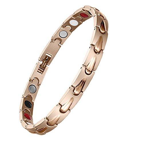 EBUTY Bracelet Femme Magnétique Acier Inoxydable 4 Eléments Or Rose