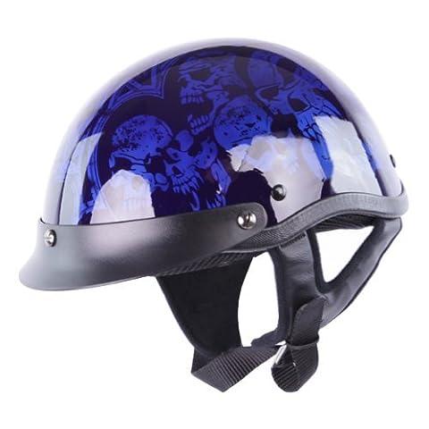 Half Helmets - HCI-100 Blue Screaming Skulls Half Helmet XL