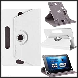 """Hello Zone Exclusive 360° Rotating 10"""" Inch Flip Case Cover Book Cover for Acer Iconia Tab A500-10S32u (WiFi+32GB) -White"""