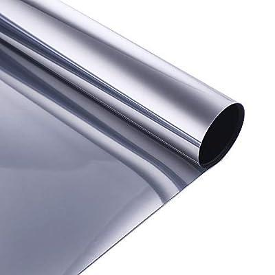 VELIMAX Film Miroir sans Tain pour Vitrage Film Solaire Electrostatique Film De Fenêtre Statique Anti-Chaleur Anti-UV, Silver