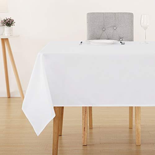 Deconovo Tischdecke Wasserabweisend Tischwäsche Lotuseffekt Tischtücher 130x220 cm Weiß