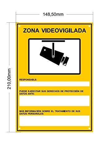 tualarmasincuotas.es ▶ Nuevo Modelo HOMOLOGADO Cartel Zona Videovigilada A5 Interior/Exterior, Cartel Disuasorio PVC expandido, Placa Disuasoria 21x15 cm, Amarillo ◀