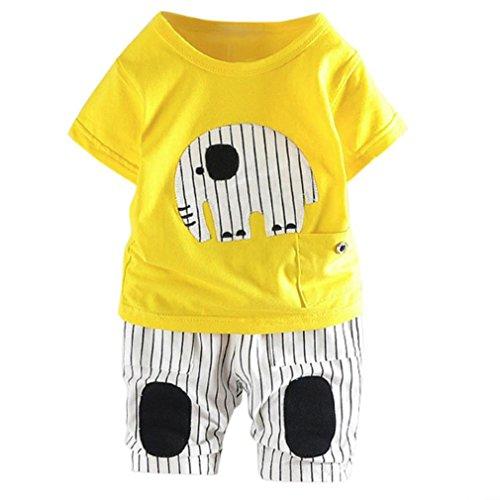 Kleidung Sets Kleinkind Kinder, DoraMe Baby Jungen Kurzarm Rundhals Cartoon Elefant T-shirt + Streifen Hosen 2018 Neue Mode Sommer Outfits für 6-24 Monate (Gelb, 12 Monate) (Monate Neues Outfit)