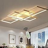 Wohnzimmerlampe LED Deckenleuchte Dimmbar Deckenlampe mit Fernbedienung, 80W Schlafzimmerlampe Modern Decke Aluminium Pendelleuchte Design Lampen Esszimmerlampe Bürolampe Küchelampe (Weiß, 90×50CM)
