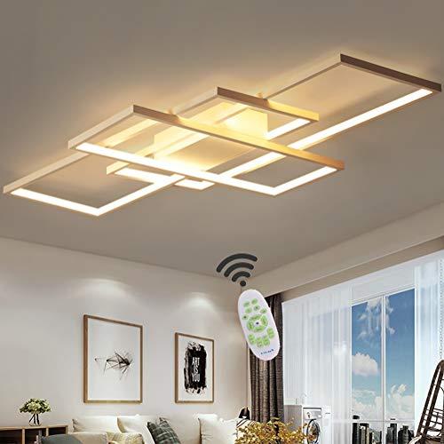 Wohnzimmerlampe LED Deckenleuchte Dimmbar Deckenlampe mit Fernbedienung, 80W Schlafzimmerlampe Modern Decke Aluminium Pendelleuchte Design Lampen Esszimmerlampe Bürolampe Küchelampe (Weiß, 110×65CM) -