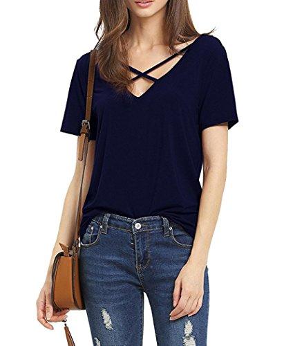 Suimiki Damen Sommer Kurzarm T-Shirt V-Ausschnitt mit Schnürung Vorne Oberteil Tops Bluse Shirt (XL, Navy Blau)