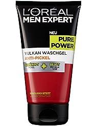L'Oreal Men Expert Pure Power Vulkan Waschgel, Reinigung bei unreiner Haut und Pickeln, 150 ml