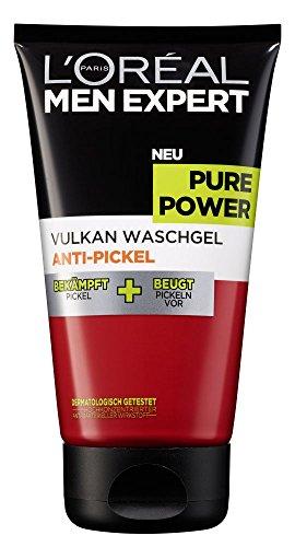 L'Oréal Paris Men Expert Pure Power Vulkan Waschgel, Anti-Pickel, für die tägliche Reinigung bei unreiner Haut, bekämpft und beugt...