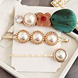 dyudyrujdtry Convenient 3Pcs/Set Women Pearl Hair Clips Snap Barrette Stick Hairpin Hair Accessories(None C)