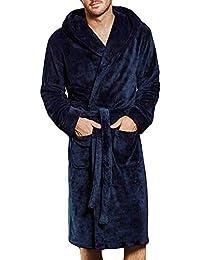 POLP Albornoz Hombre Unisex Casa Batas Albornoz para Hombre Súper Suave camisón Largo Abrigo Albornoz Hombre