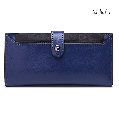 Mefly Da Donna In Pelle Borsetta Borsetta In Pelle Card Wallet Claret Royal Blue