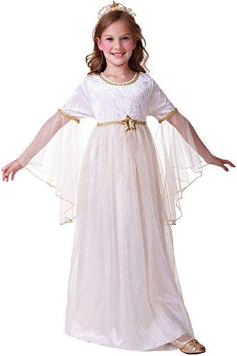 "Kinder-Kostüm ""Engel"", komplettes Outfit für Krippenspiel, Party, Schule Gr. Medium, weiß (Engel-flügel-Ärmel)"
