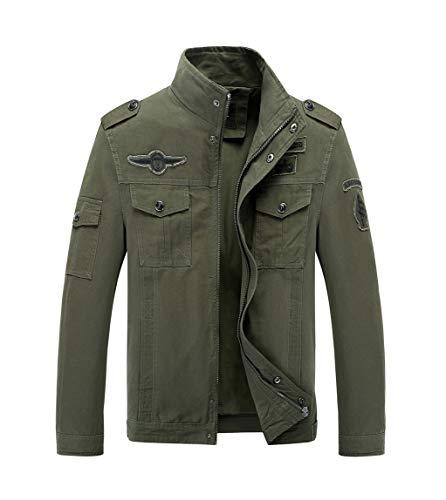 LaoZanA Chaqueta Militar Hombre Otoño Casual Abrigo Bomber Cazadora Slim Fit Verde del ejército L