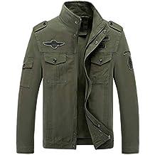 LaoZanA Chaqueta Militar Hombre Otoño Casual Abrigo Bomber Cazadora Slim Fit Verde del ejército 3XL