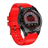 LOEROY Bluetooth Smart Watch, Fitness Uhr Intelligente Armbanduhr Fitness Tracker Smart Watch Sport, 1.22-Zoll Touchscreen Smartwatch, Kameras, GMS-Karte, Kameras,Red