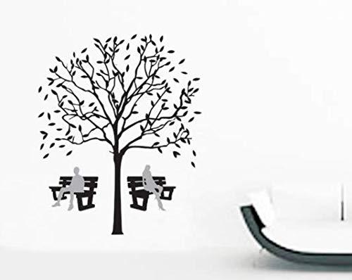 Schwarzer Baum Paar Stuhl PVC Transparent Film Entfernbare TV Hintergrund Wandaufkleber 90x100 cm