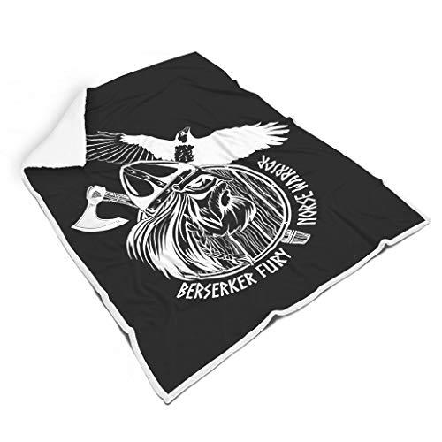 kikomia Schwarz Nordisch Krieger Berserker Wikinger Kopfschild Streitaxt Rabe Tätowieren Druck Komfort Sherpa Decke Gemütlich Outdoor Indoor Werfen Schlafen Erwachsene&Kleinkind White 130x150cm