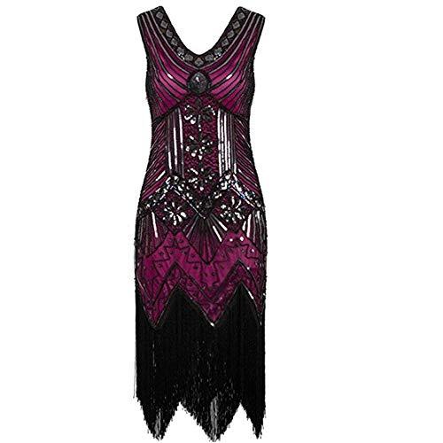 40er Kostüm Tanz Jahre - ZLDDE Damen Flapper Kleider Voller Pailletten Retro Stil V-Ausschnitt Party Damen Kostüm Kleid Hochrot