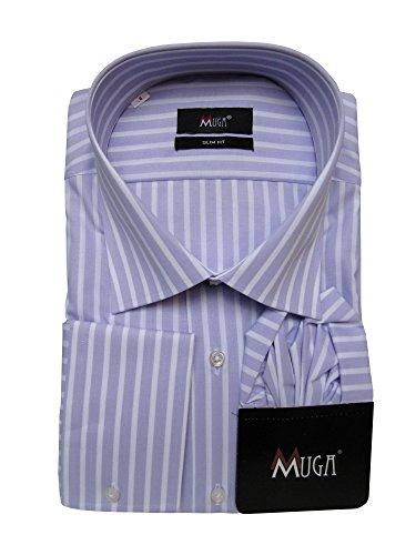 Herrenhemd gestreift Flieder Slim-fit/Tailliert Muga Flieder