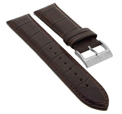 Nautica Ersatzband Uhrenarmband 22mm | Leder Band braun mit Krokoprägung für NAI21501G