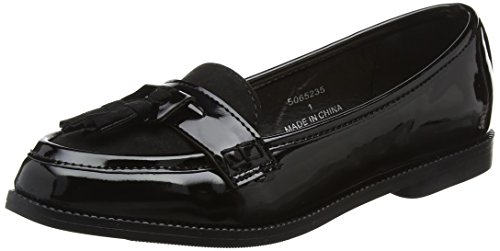 New Look Girls' 915 Kradle-Ptnt Pu Lfr Tsl Loafers, Black (Black), 2 UK (35 EU)