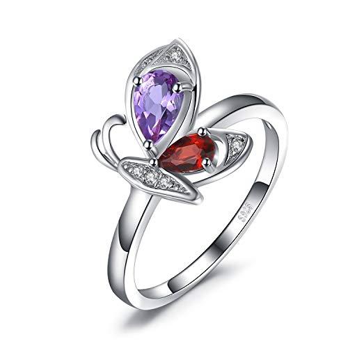 rische Schmetterling Birne geschnitten echte 0.5ct Amethyst 0.4ct Granat runde Form Zirkonia Ring 925 Sterling Silber ()