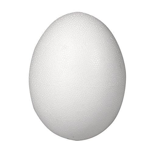 Rayher 30167000 Styropor-Ei, weiß, 2-teilig, 26 cm, 2 Halbschalen, zum Befüllen, Kunststoffeier, Styroporeier, Kunststoffeier, Ostereier, zum Bekleben und Bemalen (Buchstaben Styropor Groß)