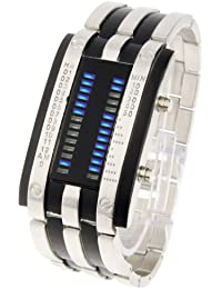 Water Resistant Blue LED Digital reloj con Stainless Steel Correa, Support Time/Date pantalla
