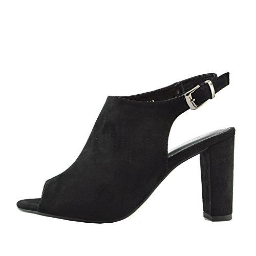 Kick Footwear - Donna Tacco, Platform Slingback Scarpe Aperte Peep Toe Cinturino alla Caviglia Sandali Nero Open Toe