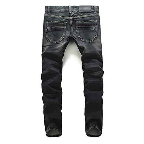Männer Jeans Slim Fit Mid-Rise-Hose Gerade Schlank Bleaching Gewaschen Vier Jahreszeiten Wild Herren Business Jeans,35 -