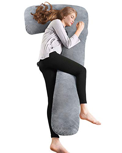 QUEEN ROSE Almohada de Embarazo con Funda de Plush, Almohada de Cuerpo Completo en Forma de L para Mujeres...