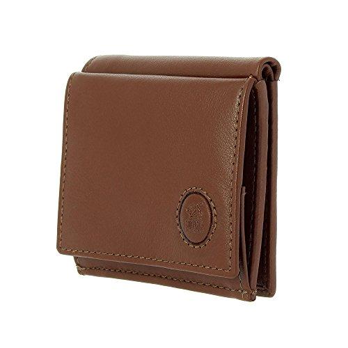 Petit portefeuille pour homme en cuir avec porte-monnaie et porte-cartes de crédit de Nuvola Pelle Brun foncé