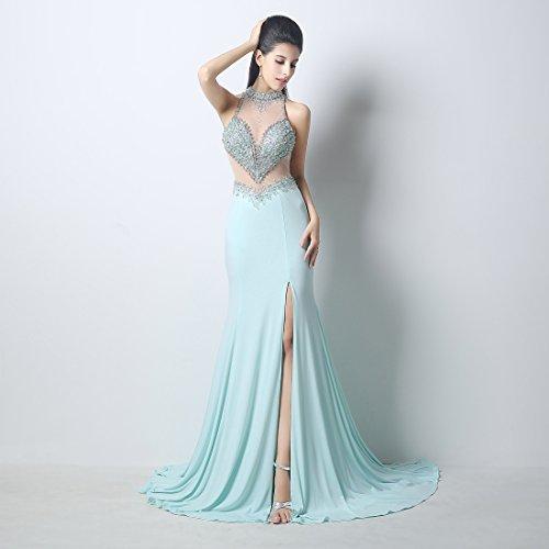 Bridal_Mall - Robe - Trapèze - Sans Manche - Femme Bleu - Bleu clair