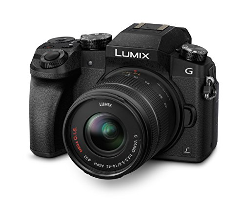 C-G70KAEGK Systemkamera (16 Megapixel, OLED-Sucher, 7,5 cm OLED Touchscreen, 4K Foto und Video) mit Objektiv H-FS14042E schwarz (Panasonic G7)