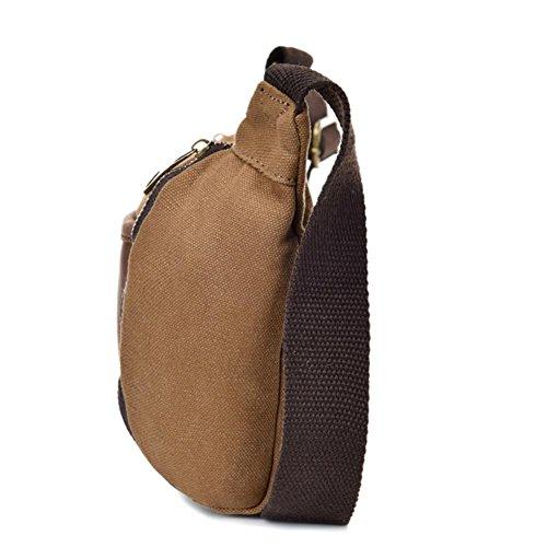 OOLIFENG Retro Segeltuchtasche Leder Leinwand diagonal Paket Herren-Taschen Brown